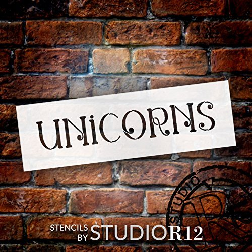 "Unicorns - Swirls - Word Stencil - 13"" x 4"" - STCL2174_1 - by StudioR12"