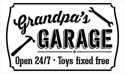 "Grandpa's Garage - Open 24/7 Sign Stencil by StudioR12 | Reusable Mylar Template | Use to Paint Wood Signs - Pallets - DIY Grandpa Gift - Select Size (16"" x 10"")"