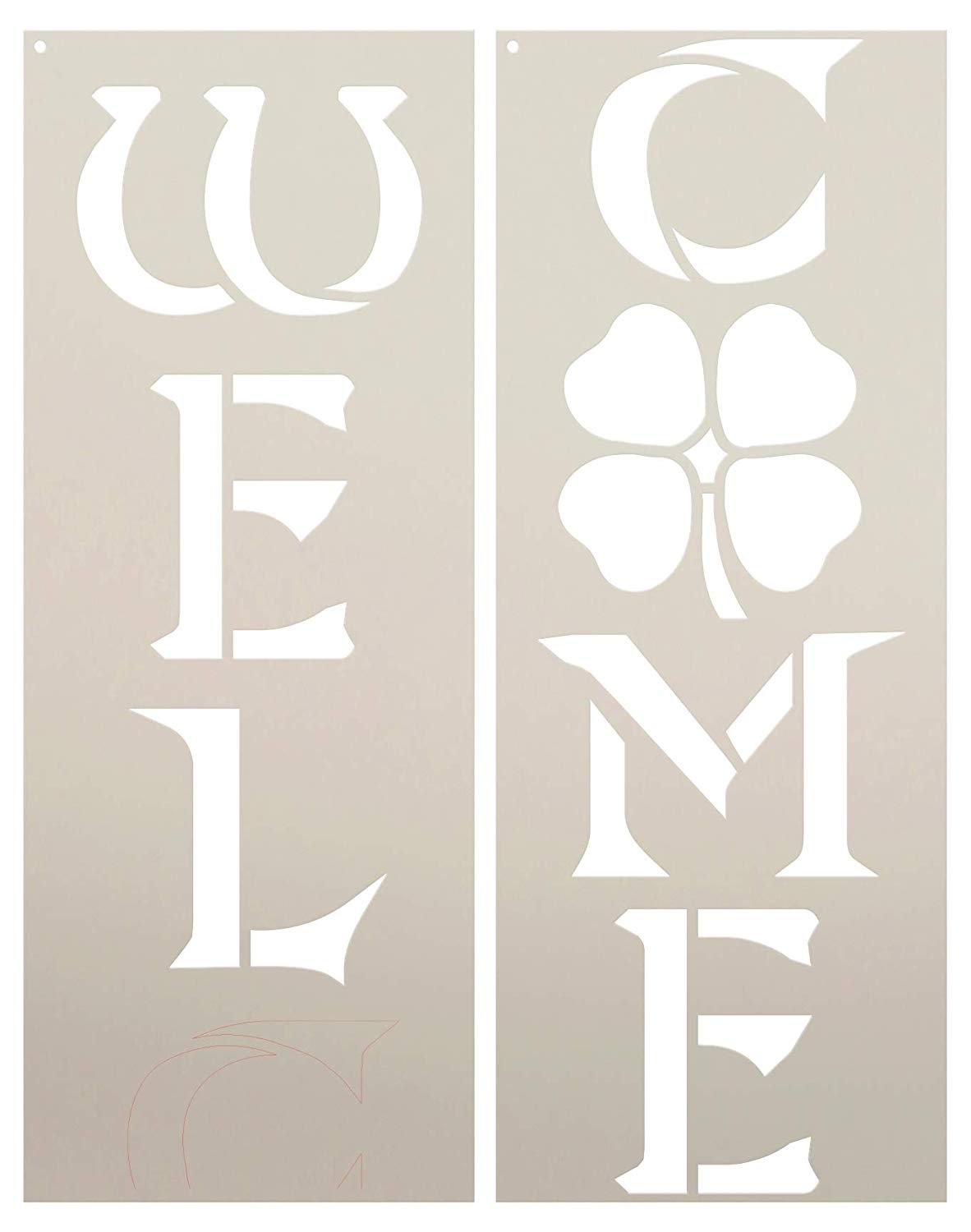 Welcome Tall Porch Stencil with Shamrock by StudioR12 | 2 Piece | DIY Large Vertical Irish Clover Home Decor for St. Patrick's Day | Front Door Entryway | Craft & Paint Wood Leaner Signs | Size 4ft