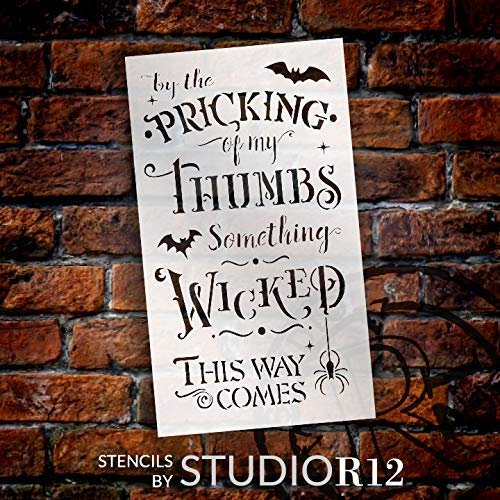 Something Wicked This Way Comes Stencil by StudioR12 | DIY Halloween Quote Home Decor | Craft & Paint Wood Signs | Select Size | STCL3456
