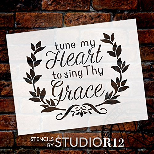 "Tune My Heart - Wreath - Word Art Stencil - 21"" x 16"" - STCL1888_5 - by StudioR12"