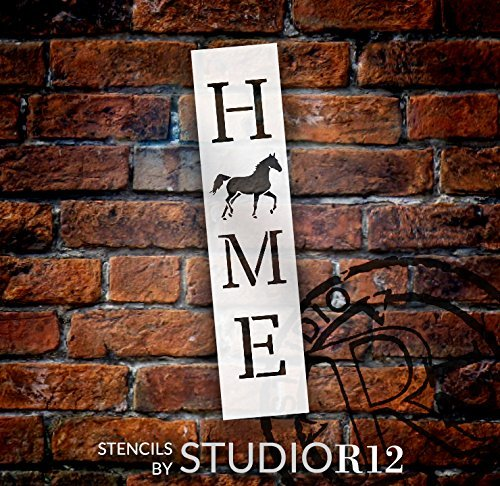 Home with Trotting Horse - Vertical Stencil by StudioR12 | Reusable Mylar Template | Use to Paint Wood Signs - Pallets - Banners - DIY Animal Lover Home Decor - Select Size