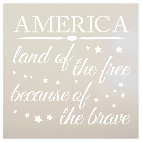America - Land of The Free Stencil by StudioR12 | Patriotic Word Art - Reusable Mylar Template | Painting, Chalk, Mixed Media | Use for Crafting, DIY Home Decor- STCL1233 | SELECT SIZE