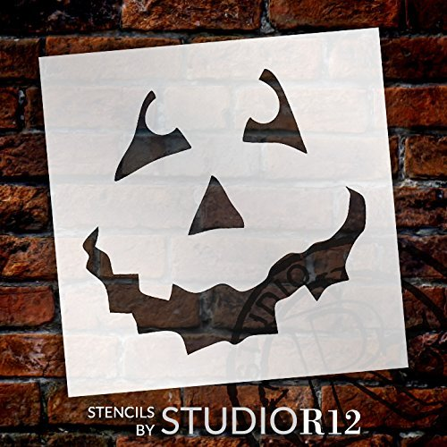 "Halloween - Pumpkin Face Art Stencil - 12"" X 12"" - STCL761_3 - by StudioR12"