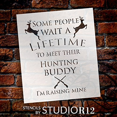 "Hunting Buddy - Deer & Rifles - Word Art Stencil - 12"" x 14"" - STCL2173_1 - by StudioR12"