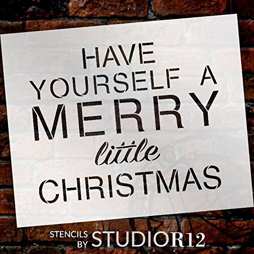 "A Merry Little Christmas Stencil by StudioR12 | Fun Christmas Carol Word Art - Reusable Mylar Template | Painting, Chalk, Mixed Media | Use for Wall Art, Home Decor - STCL1395 SELECT SIZE (15"" x 12"")"