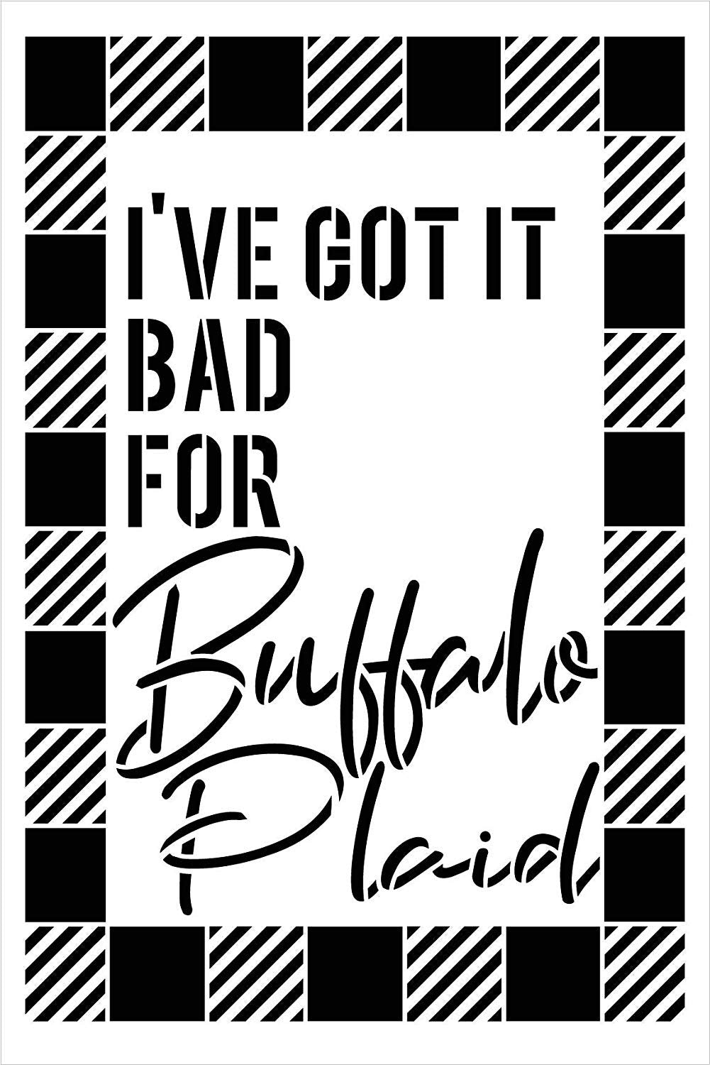 Got It Bad for Buffalo Plaid Check Stencil by StudioR12 | for Painting Wood Sign | Furniture Totes and Fabric | Lumberjack Pattern | Diagonal Large Square Pattern | DIY Home Decor - Choose
