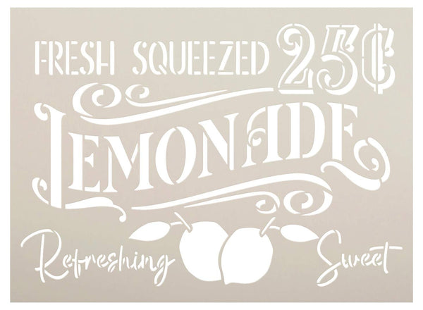 Fresh Squeezed Lemonade Stencil with Lemons by StudioR12 | DIY Spring & Summer Kitchen Home Decor | 25 Cents | Paint Farmhouse Wood Signs | Reusable Mylar Template | Select Size