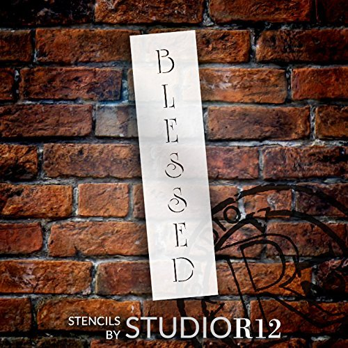 Blessed Stencil by StudioR12 | Vertical Country Elegant Word Art - Mini 8 x 2 Reusable Mylar Template | Painting, Chalk, Mixed Media | Use for Journaling, DIY Home Decor - STCL1349_1