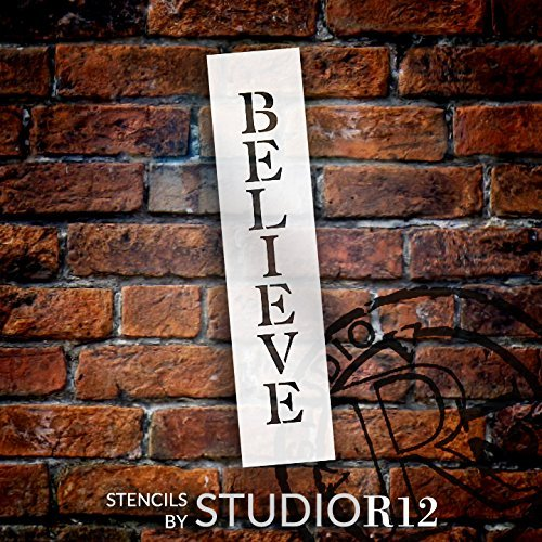 "Believe - Vertical - Word Stencil - 4"" x 15"" - STCL1819_3 - by StudioR12"