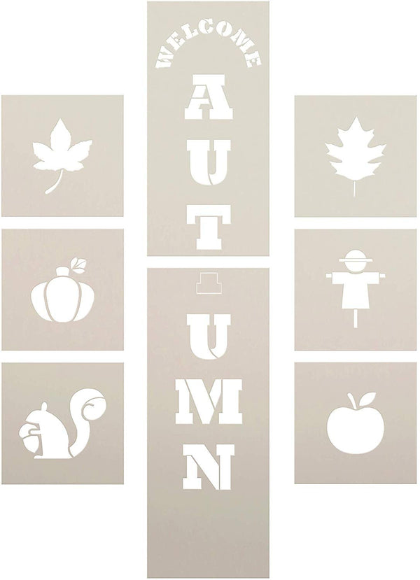 Welcome Autumn Tall Porch Stencil Set by StudioR12 | Pack of 8 | DIY Vertical Fall Home Decor for Front Door | Apple Pumpkin Leaf | Paint & Craft Wood Leaner Signs | Reusable Mylar Template | Size 4ft