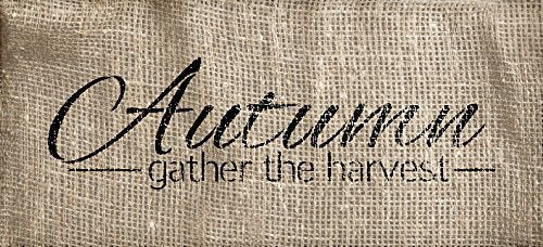Autumn Word Stencil - Gather The Harvest by StudioR12 | Reusable Mylar Template | Use to Paint Wood Signs - Wall Art- Pallets - Pillows - DIY Fall Season Farmhouse Home Decor - SELECT SIZE