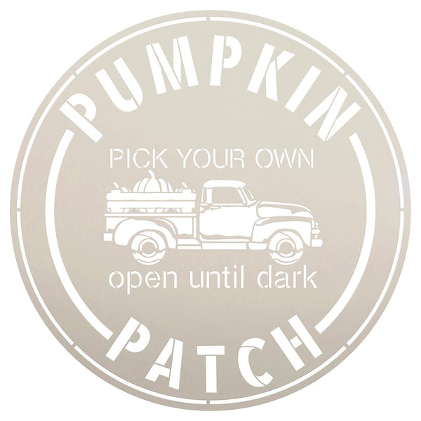 Pumpkin Patch Pick Your Own-Truck Stencil by StudioR12 | Wood Signs | Word Art Reusable | Fall | Painting Chalk Mixed Media Multi-Media | Use for Journaling, DIY Home - Choose Size