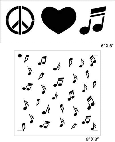 Peace Love & Paw Prints Music Note Stencil Set 2 - Piece by Studio R12 | Fun Hip Art for Pet Lovers | Painting, Chalk, Mixed Media | Use for Journaling, DIY Home Decor