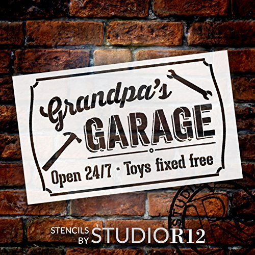 Grandpa's Garage - Open 24/7 Sign Stencil by StudioR12 | Reusable Mylar Template | Use to Paint Wood Signs - Pallets - DIY Grandpa Gift - Select Size (16