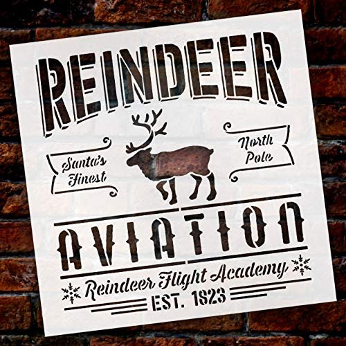 Reindeer Aviation Santa's Finest North Pole Stencil by StudioR12 | Wood Signs | Word Art Reusable | Family Dining Room | Painting Chalk Mixed Multi-Media | DIY Home - Choose Size