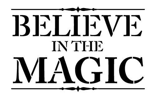 Believe In the Magic Stencil by StudioR12 | Christmas Faith Word Art - Small 9 x 5 1/2-inch Reusable Mylar Template | Painting, Chalk, Mixed Media | Use for Journaling, DIY Home Decor - STCL232_1