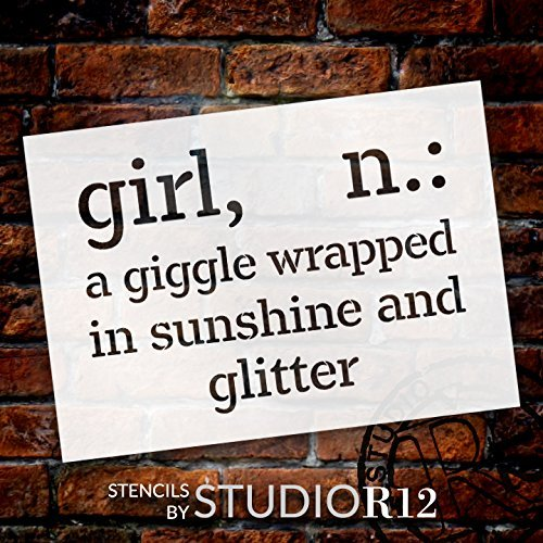 "Girl - Wrapped In Sunshine - Word Stencil - 14"" x 10"" - STCL2169_1 - by StudioR12"