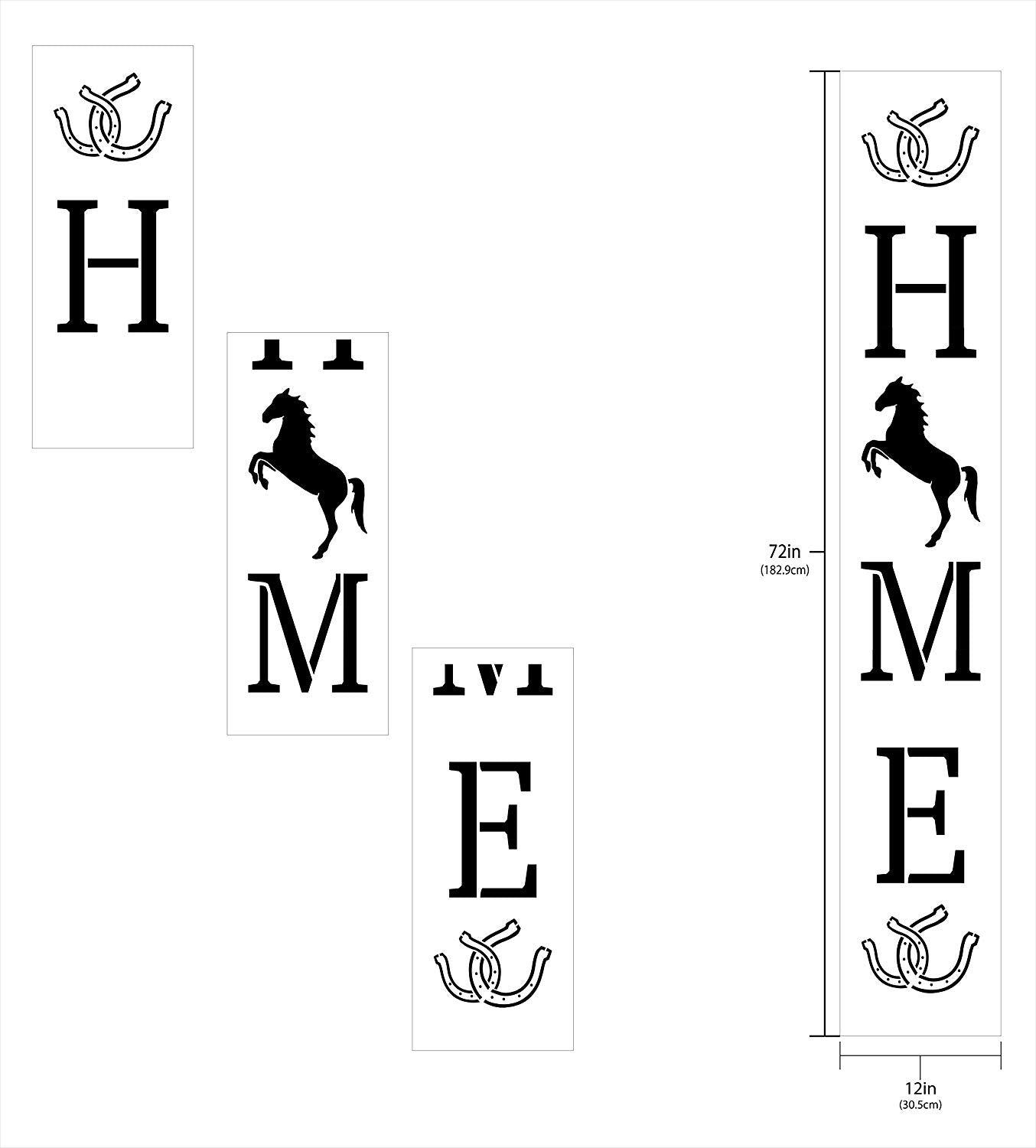 "Home with Rearing Horse & Horseshoes - Vertical - Porch Sign Stencil - 3 Part by StudioR12 | Reusable Mylar Template | Use to Paint Wood Signs - Welcome - Animal Lover Decor - 12"" x 72"""