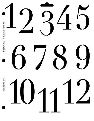 Clock Numerals Stencil by StudioR12 | Paris Style Number Art - Medium 8.5 x 11-inch Reusable Mylar Template | Painting, Chalk, Mixed Media | Use for Crafting, DIY Home Decor - STCL187_4
