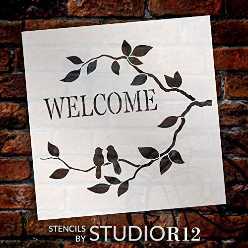 Welcome Stencil with Birds by StudioR12 | Love Birds and Branches Word Art | Reusable Template | For Painting Wood Signs | Front Porch or Patio | Use for Crafting, DIY Home Decor | Select Size