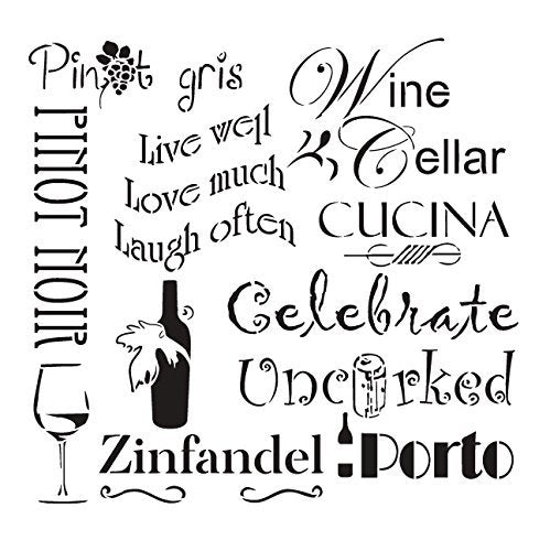 Celebrate Wine Stencil by StudioR12 | Background Tuscan Word Art - Reusable Mylar Template | Painting, Chalk, Mixed Media | Use for Wall Art, DIY Home Decor - STCL696 SELECT SIZE