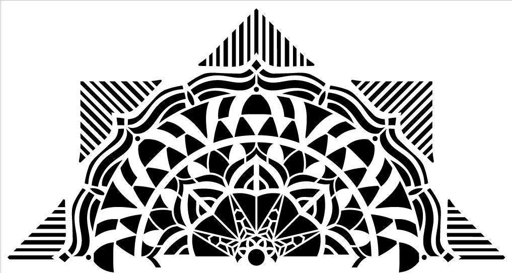 "Mandala - Geometric - Half Design Stencil by StudioR12 | Reusable Mylar Template | Use to Paint Wood Signs - Pallets - Pillows - Wall Art - Floor Tile - Select Size (30"" x 16"")"