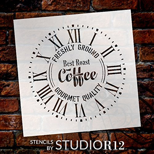 Round Coffee Clock Stencil Roman Numerals - DIY Painting Wood Clocks Vintage Rustic Farmhouse Country Home Decor for Walls - Select Size