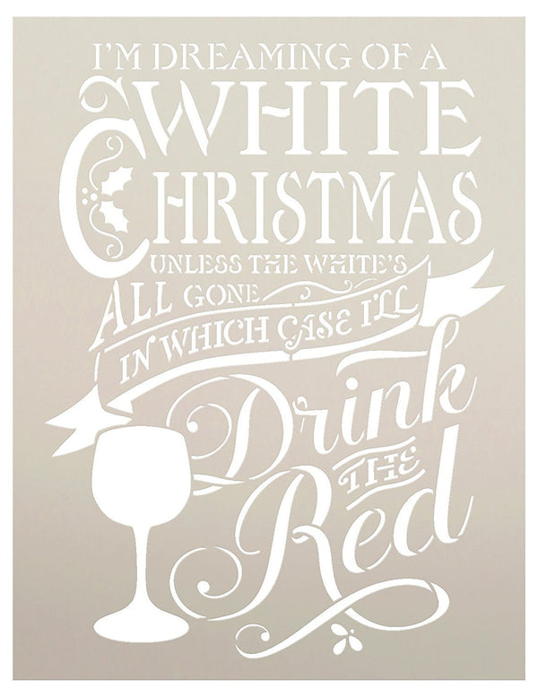 White Christmas Stencil by StudioR12 | Christmas and Wine themed Word Art - Reusable Mylar Template | Painting, Chalk, Mixed Media | Use for Crafting, DIY Home Decor -CHOOSE SIZE (12