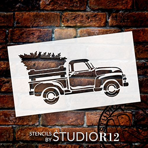 antique Truck,   			                 Art Stencil,   			                 Christmas,   			                 Christmas & Winter,   			                 Farmhouse,   			                 Holiday,   			                 old truck,   			                 Primitive,   			                 Stencils,   			                 Studio R 12,   			                 StudioR12,   			                 StudioR12 Stencil,   			                 Template,   			                 truck,   			                 Winter,   			                 Workshop,