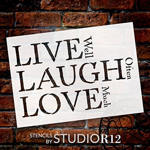 "Live, Laugh, Love - Traditional Stacked - Word Stencil - 25"" x 16"" - STCL1371_4 by StudioR12"