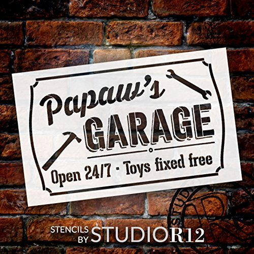 Papaw's Garage - Open 24/7 Sign Stencil by StudioR12 | Reusable Mylar Template | Use to Paint Wood Signs - Pallets - DIY Grandpa Gift - Select Size (25