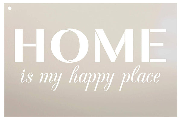 Home is My Happy Place Stencil by StudioR12 | Reusable Mylar Template | Use to Paint Wood Signs - Front Porch - Pallets - New Home - DIY Home Welcome Decor - Select Size