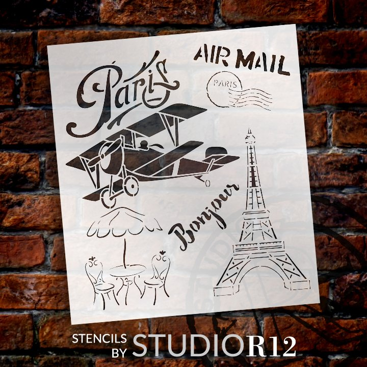Paris Stencil Template for Walls and Crafts Reusable Stencils for Painting in Small /& Large Sizes