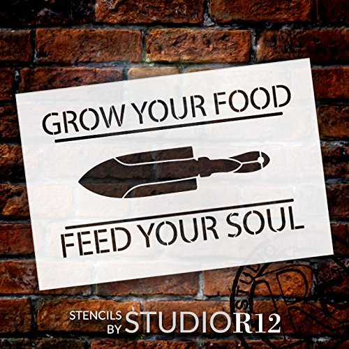 "Grow Your Food Feed Your Soul - Trowel - Word Art Stencil - 24"" x 15"" - STCL2153_4 - by StudioR12"