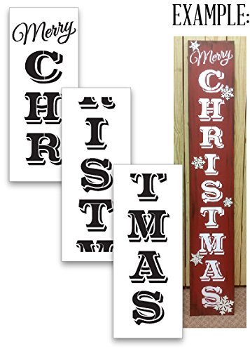 Merry Christmas Tall Porch Stencil by StudioR12 | 3 Piece | DIY Large Vertical Winter Holiday Home Decor | Front Door Entryway | Craft & Paint Wood Leaner Signs | Reusable Mylar Template | Size 6ft