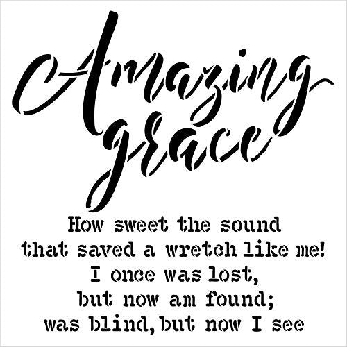Amazing Grace by StudioR12 | Reusable Mylar Template | Christian Hymn Inspiration | Paint Wood Sign | Craft Simple Cursive Gift Quote | DIY Rustic Song Lyrics Faith Truths | Select Size