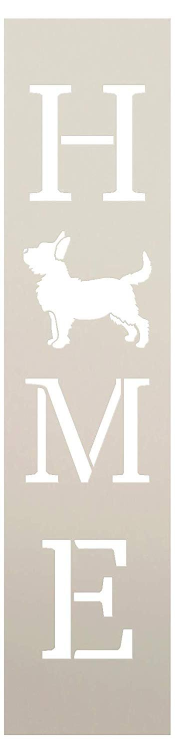 Home with Dog - Vertical Stencil by StudioR12 | Reusable Mylar Template | Use to Paint Wood Signs - Pallets - Banners - DIY Animal Lover Home Decor - Select Size | STCL2458