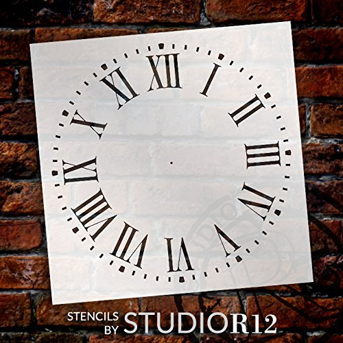 Farmhouse Clock Face Stencil by StudioR12 | Roman Numerals Clock Art - Reusable Mylar Template | Painting, Chalk, Mixed Media | DIY Decor - STCL2336 - SELECT SIZE (16