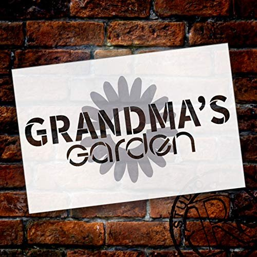 Grandma's Garden with Flower Stencil Set 2 Piece - by Studio R12 | Reusable Mylar Template | Mother's Day Grandparents Gift | Acrylic - Chalk - Mixed Media | STCL2661 - Choose Size
