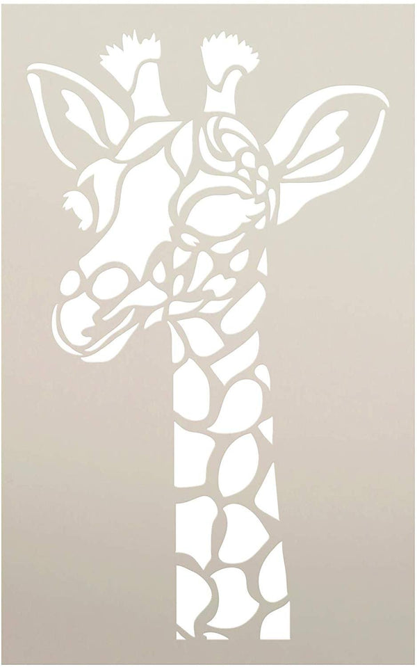 Giraffe Portrait Stencil by StudioR12 | Zoo Animals | DIY Creativity Fun Kids Gift | Family School Nursery Play Room Craft Cute School Home Decor | Reusable Mylar Template Paint Wood Sign | STCL3034