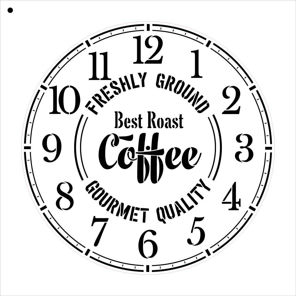 "Round Coffee Clock Stencil Small to Extra Large - DIY Painting Wood Clocks Rustic Farmhouse Country Home Decor for Walls - Select Size (20"" (2 Parts))"