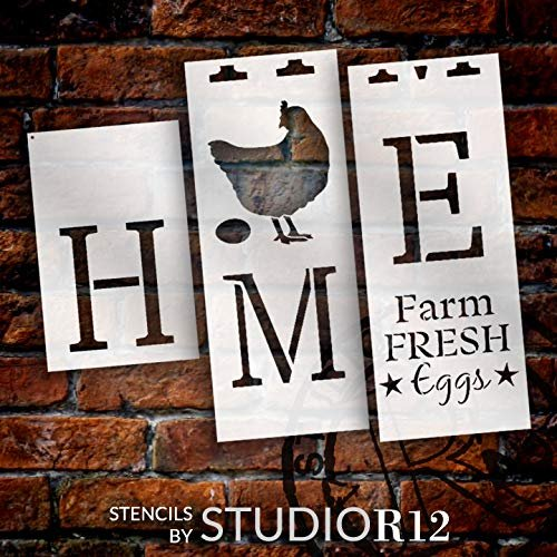 "Home with Chicken - Vertical - Porch Sign - 3 Part Stencil by StudioR12 | Reusable Mylar Template | Use to Paint Wood Signs - Pallets - Banners - DIY Country Animal Lover Home Decor - 12"" x 72"""