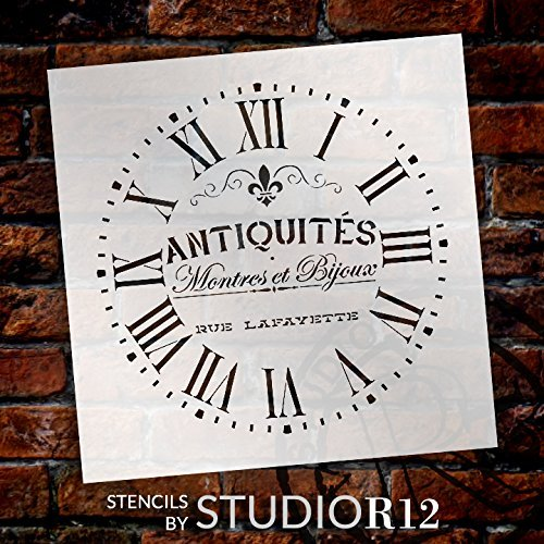 "Round Clock Stencil - Roman Numerals - French Antique Words - DIY Painting Vintage Country Farmhouse Home Decor Walls - Select Size (14"")"