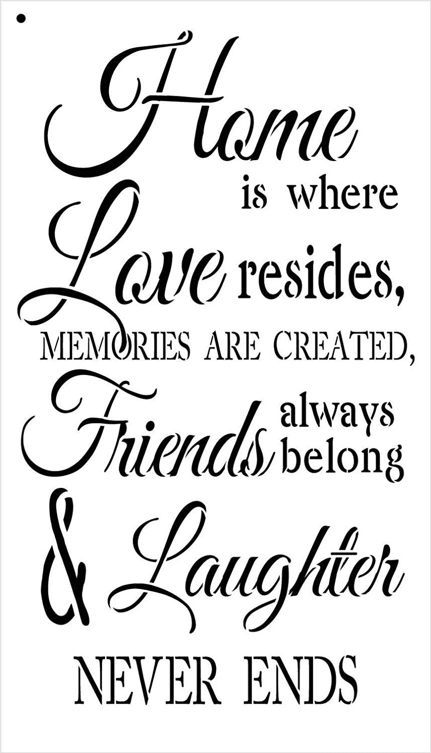 Home is Where Love Resides Stencil by StudioR12 | Reusable Mylar Template | Use to Paint Wood Signs - Pallets - Pillows - DIY Home, Family & Love Decor - Select Size
