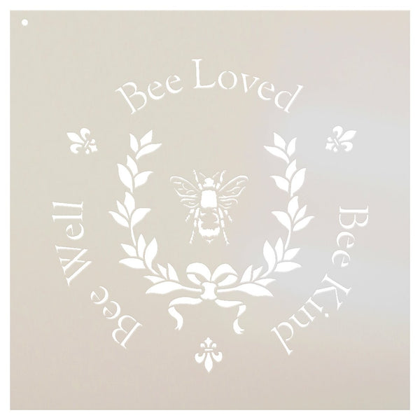 Bee Loved, Bee Well, Bee Kind Stencil with Laurel & Bow by StudioR12 | DIY French Fleur de lis Country Home Decor | Paint Rustic Wood Signs | Reusable Mylar Template | 10