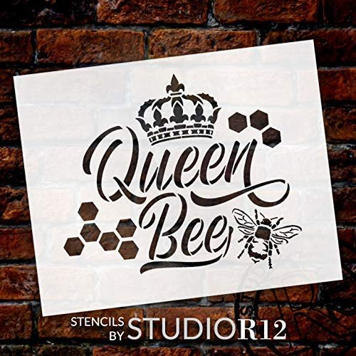 Art Stencil,   			                 bee,   			                 Country,   			                 crown,   			                 cursive,   			                 Farmhouse,   			                 Home,   			                 Home Decor,   			                 honey,   			                 honeycomb,   			                 Kitchen,   			                 queen,   			                 script,   			                 stencil,   			                 Stencils,   			                 Studio R 12,   			                 StudioR12,   			                 StudioR12 Stencil,   			                 tiara,   			                 trendy,