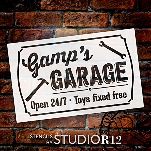 Gamp's Garage - Open 24/7 Sign Stencil by StudioR12 | Reusable Mylar Template | Use to Paint Wood Signs - Pallets - DIY Grandpa Gift - Select Size (25
