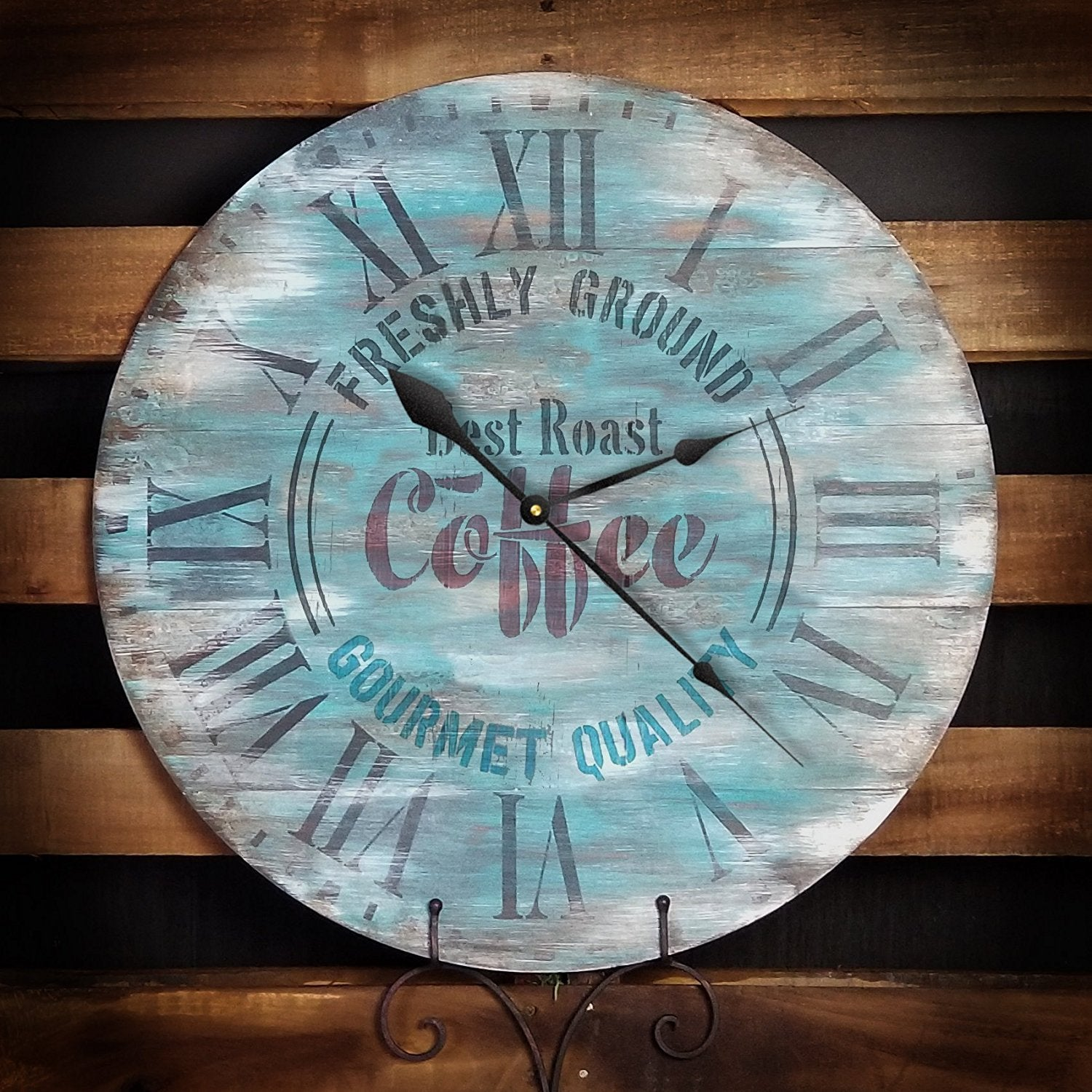 "Round Coffee Clock Stencil Roman Numerals - DIY Painting Wood Clocks Vintage Rustic Farmhouse Country Home Decor for Walls - Select Size (20"" (2 Parts))"