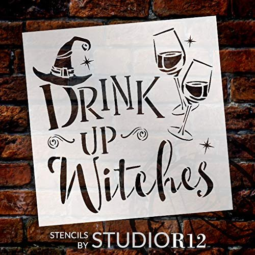 Drink Up Witches Stencil with Hat by StudioR12 | DIY Fun Halloween Wine Kitchen & Home Decor | Craft & Paint Wood Signs | Select Size | STCL3455